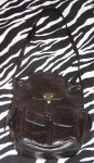 Vintage DKNY Black Leather Shoulder Bag Rucksack Purse