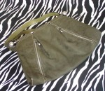 Vintage Military Green Suede Handbag