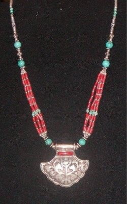 Vintage Necklace Made In Nepal Sterling Silver Coral Turquoise