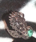Vintage Nepalese Dragon Turquoise Sterling Silver Ring