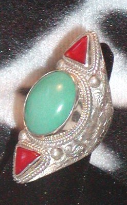 Vintage Tibetan Ring Turquoise Coral Sterling Silver