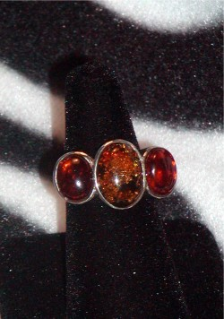 Classic Amber And Sterling Silver Ring