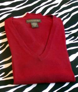 Estate Burgundy Merino Wool V-Neck Size M
