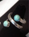 Estate Turquoise Sterling Silver Spiral Ring