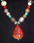 Estate Gemstone Buddha Necklace