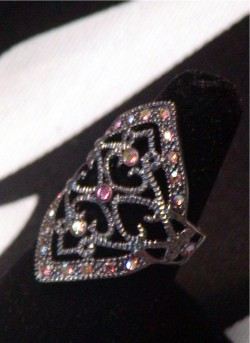 Romantic Estate Cocktail Ring With Iridescent Crystals