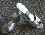 Vintage Silver Leather Slides