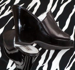 Dressy Charles David Black Lacquer Wedge Slides